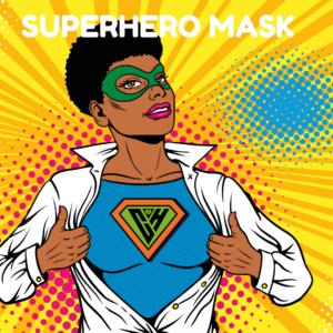 Superhero mask button