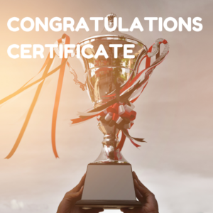 Congratulation certificate button